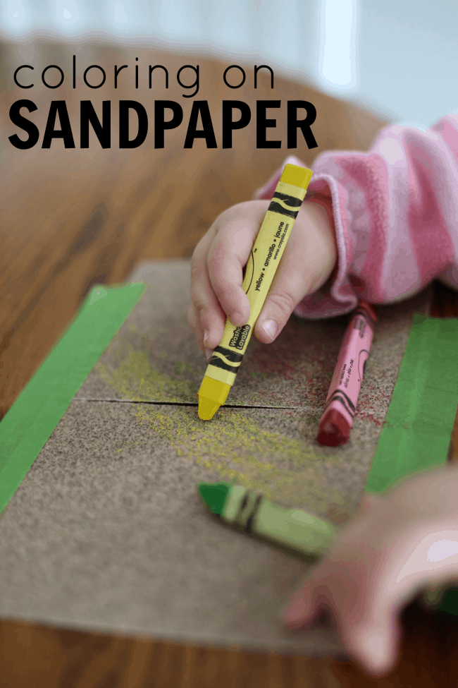 Coloring on Sandpaper Activity for Toddlers