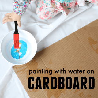 Painting with Water on Cardboard