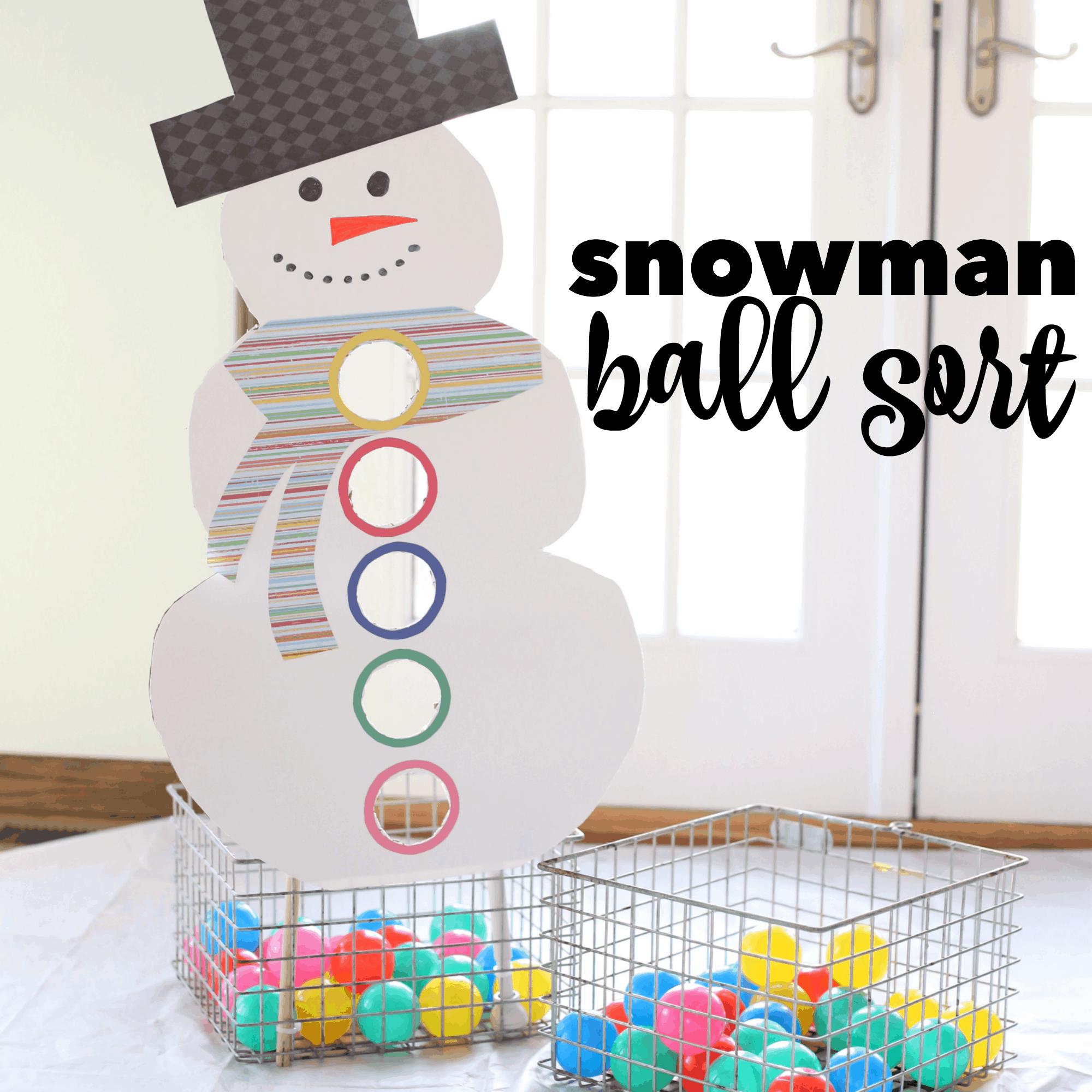 Snowman Ball Sort I Can Teach My Child