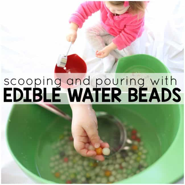 scooping and pouring with edible water beads square