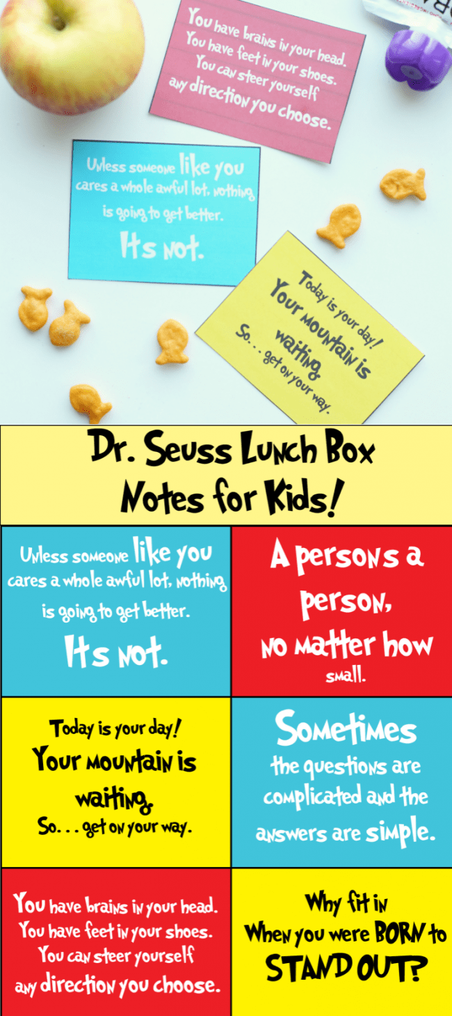 Dr. Seuss Lunch Notes for Kids