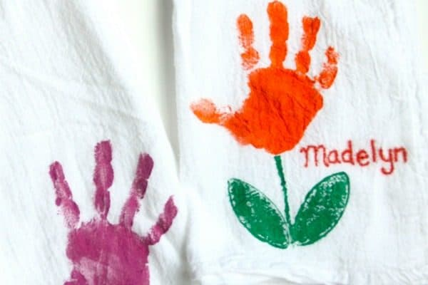Handprint Tulip Towels for Mother's Day