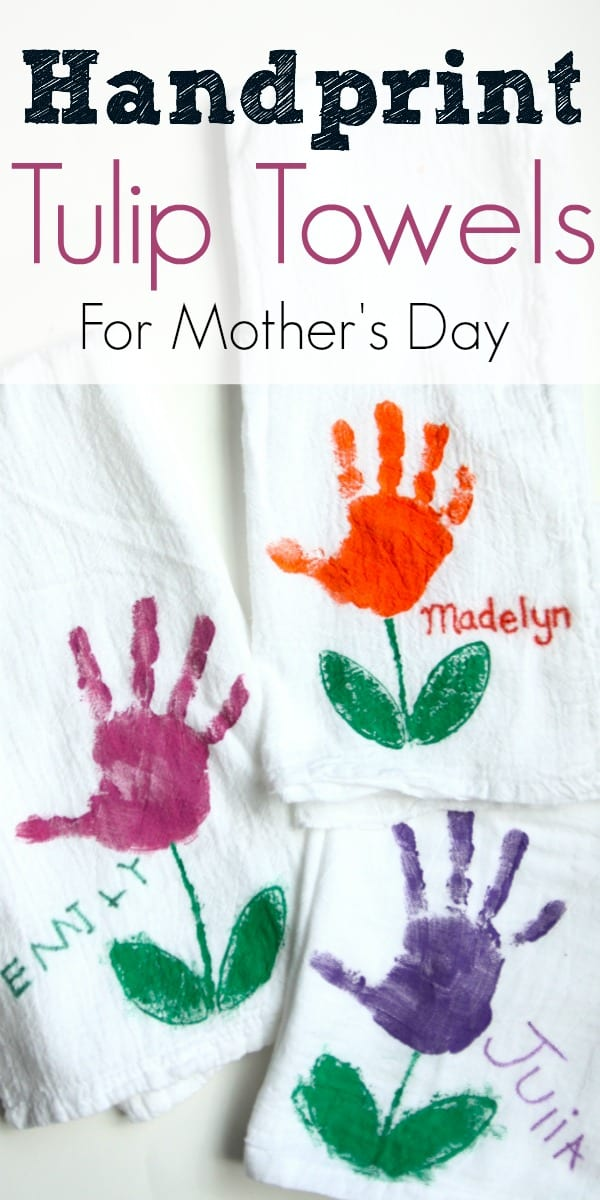 Handprint Tulip Towels For Mother S Day