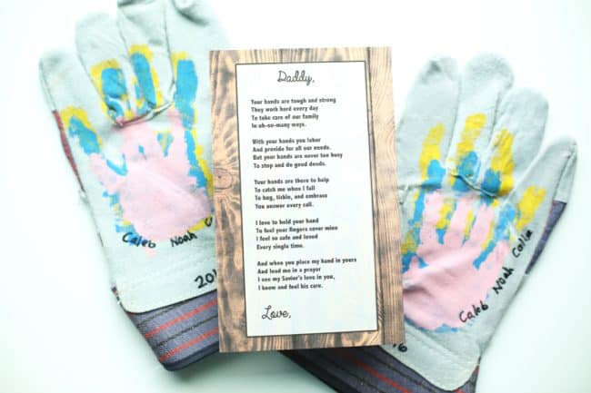 Handprint Work Gloves and Poem for Father's Day