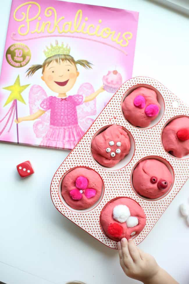 Pinkalicious Roll and Count Playdough Cupcakes