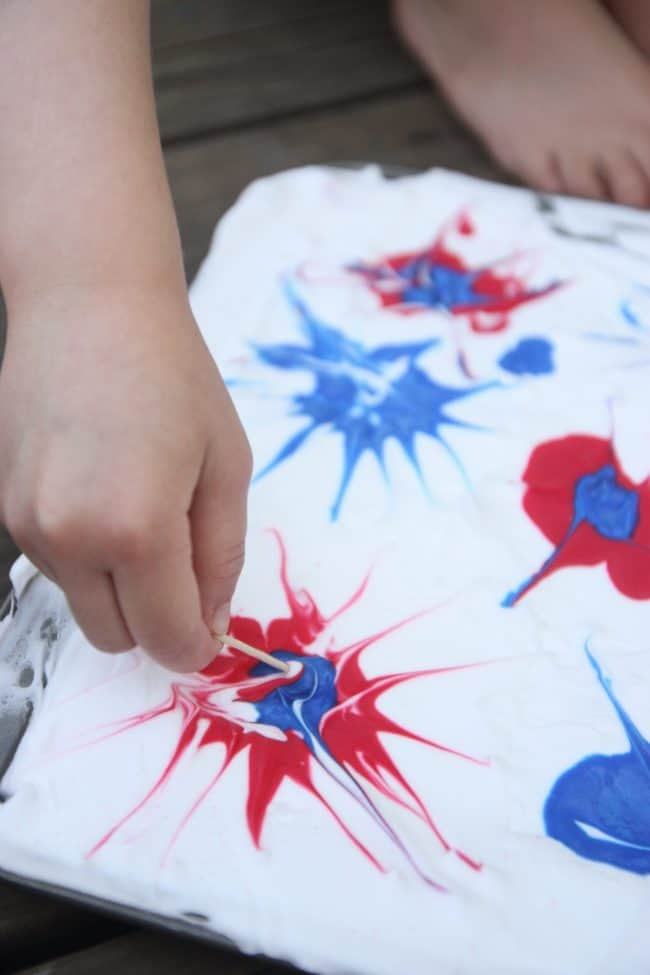 shaving cream art for the 4th of July