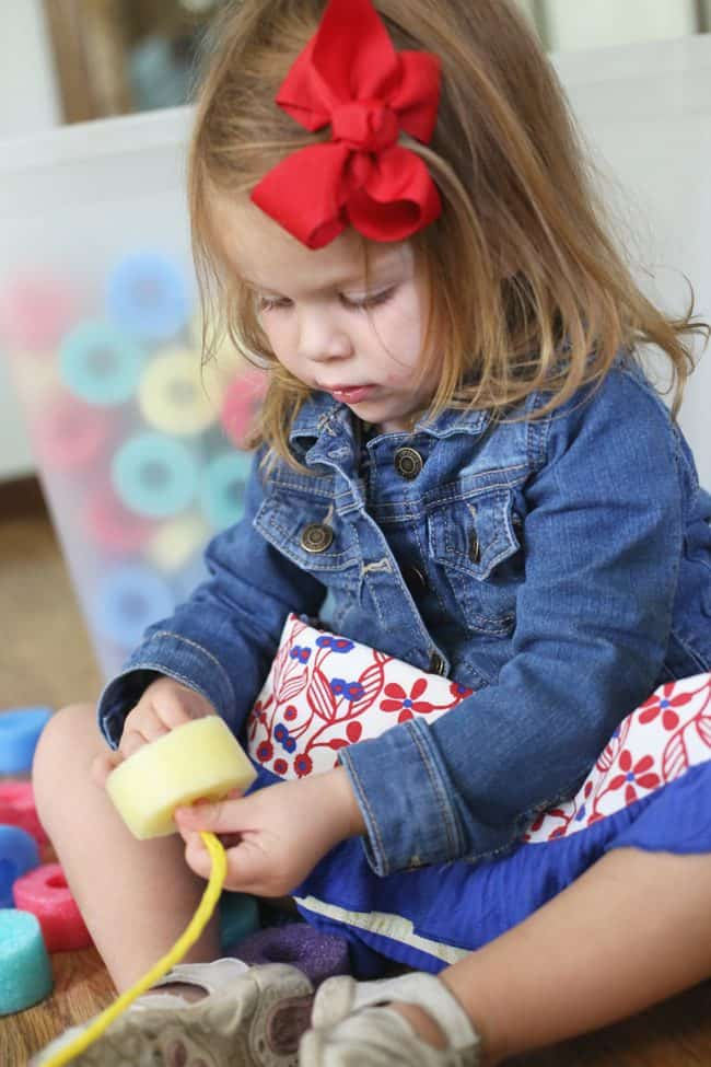 Sorting and Threading Foam Beads Activity for Toddlers