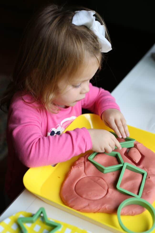 Making shapes with playdough