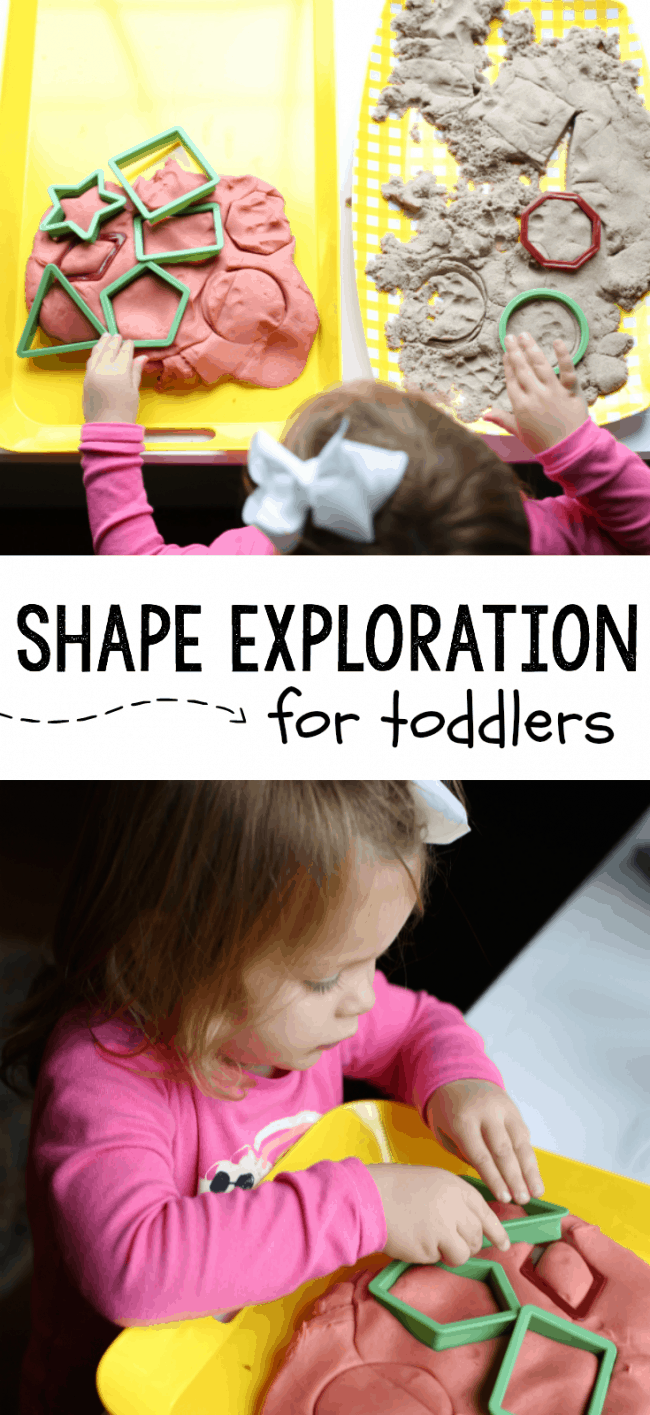 This super simple shape exploration activity for toddlers is the perfect way to introduce your toddler to learning about shapes! A super fun sensory activity and great for language development as you talk about the shapes and their attributes together.