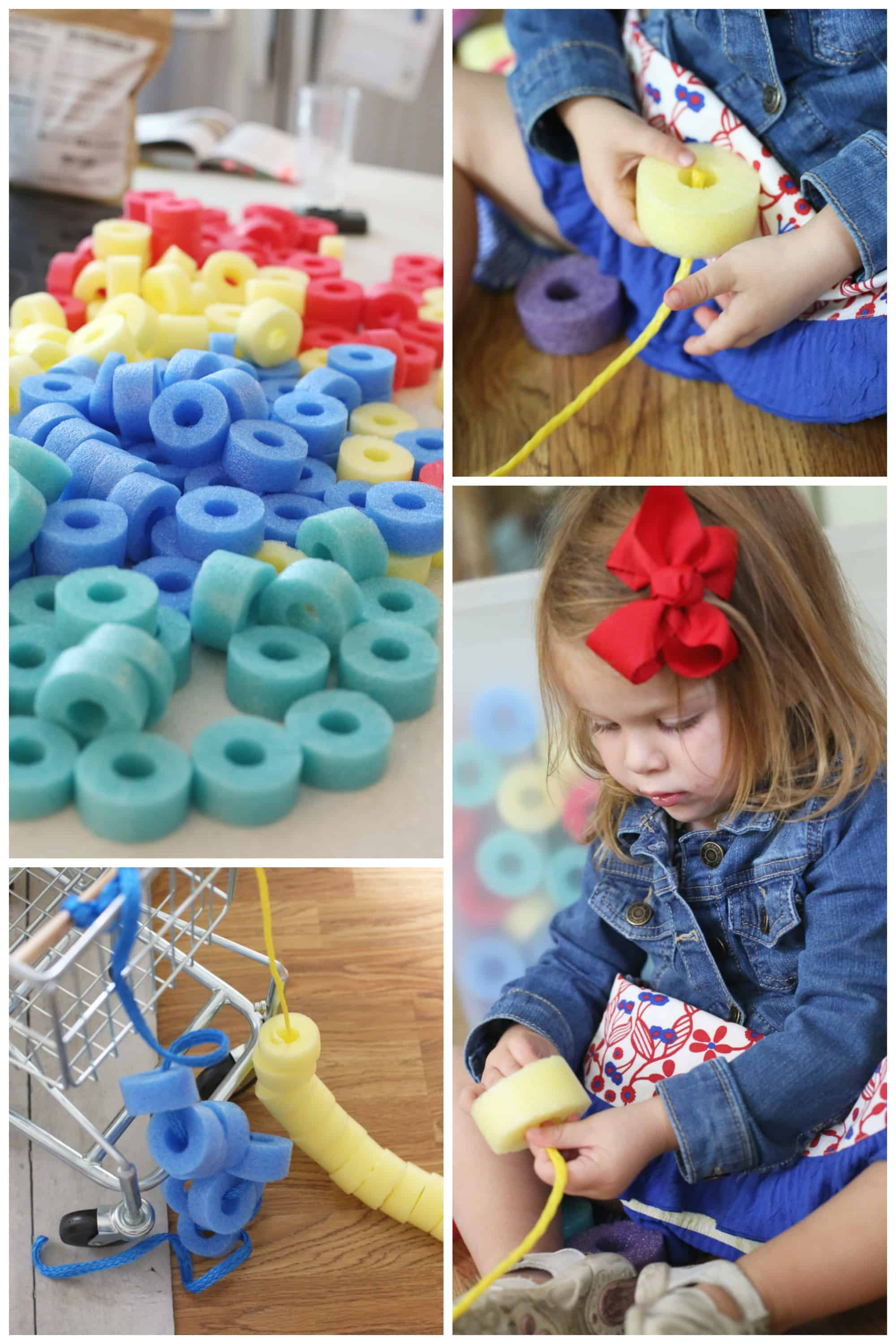 Sorting And Threading Foam Beads Activity For Toddlers I