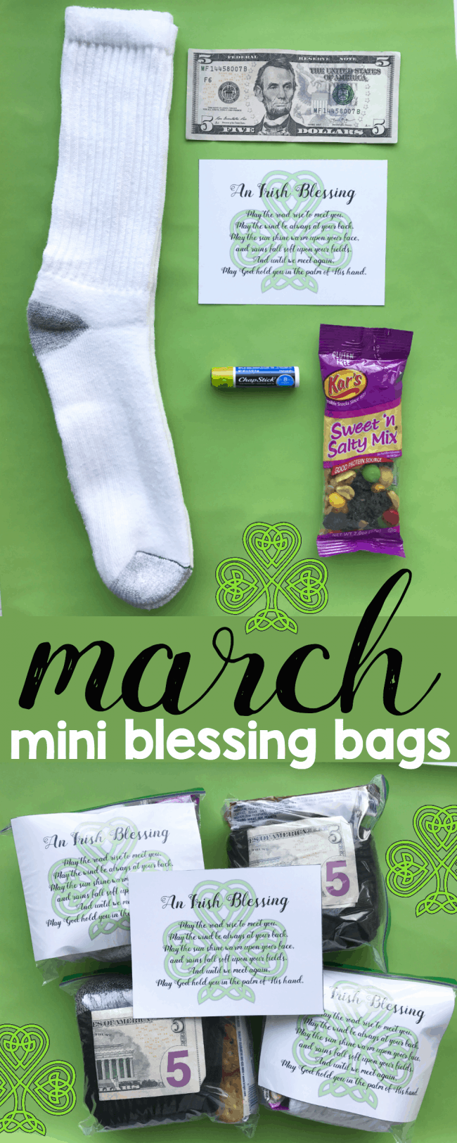 March Mini Blessing Bags with free Irish Blessing printable