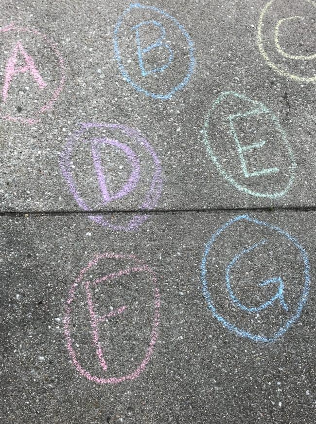 Chalk Eggs for Alphabet Easter Egg Hunt
