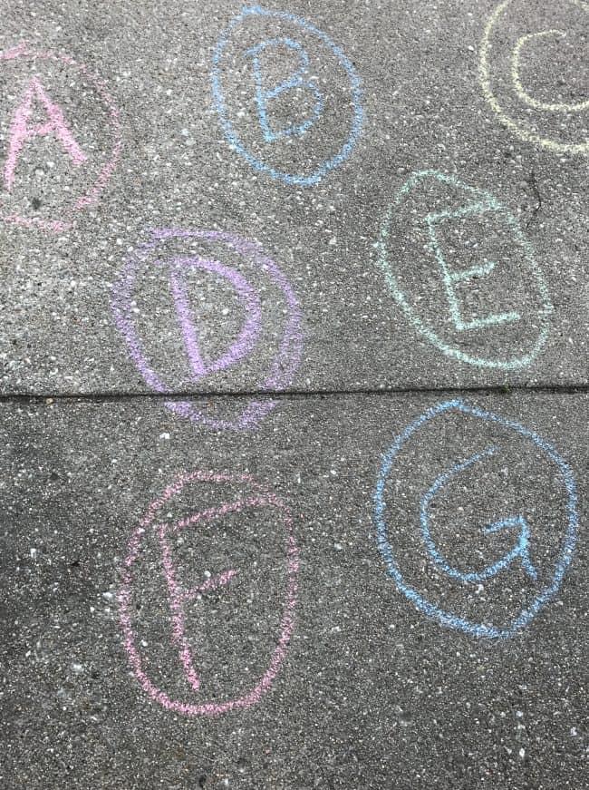 Chalk Eggs for Alphabet Easter Egg Hunt