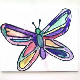Butterfly Art with Watercolors and Hot Glue