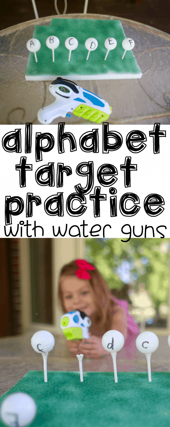 Alphabet Target Practice with Water Guns