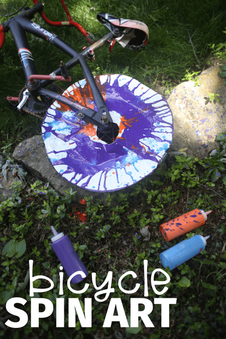 Bicycle Spin Art- Such a fun outdoor process art activity for kids
