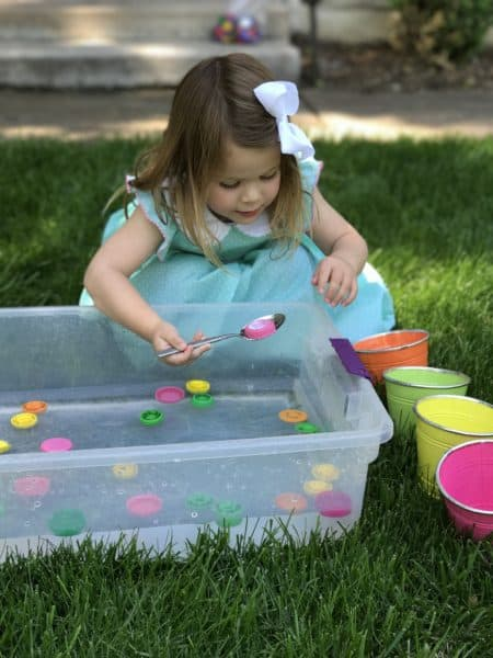 Scooping and Sorting Lids Toddler Activity