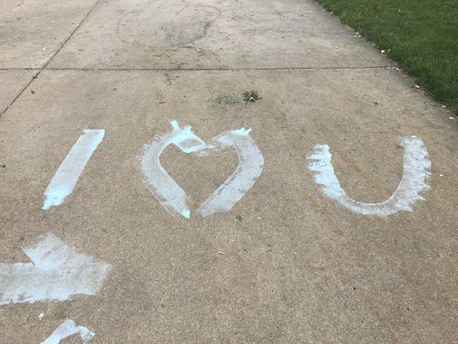 Sidewalk Chalk Roller Painting