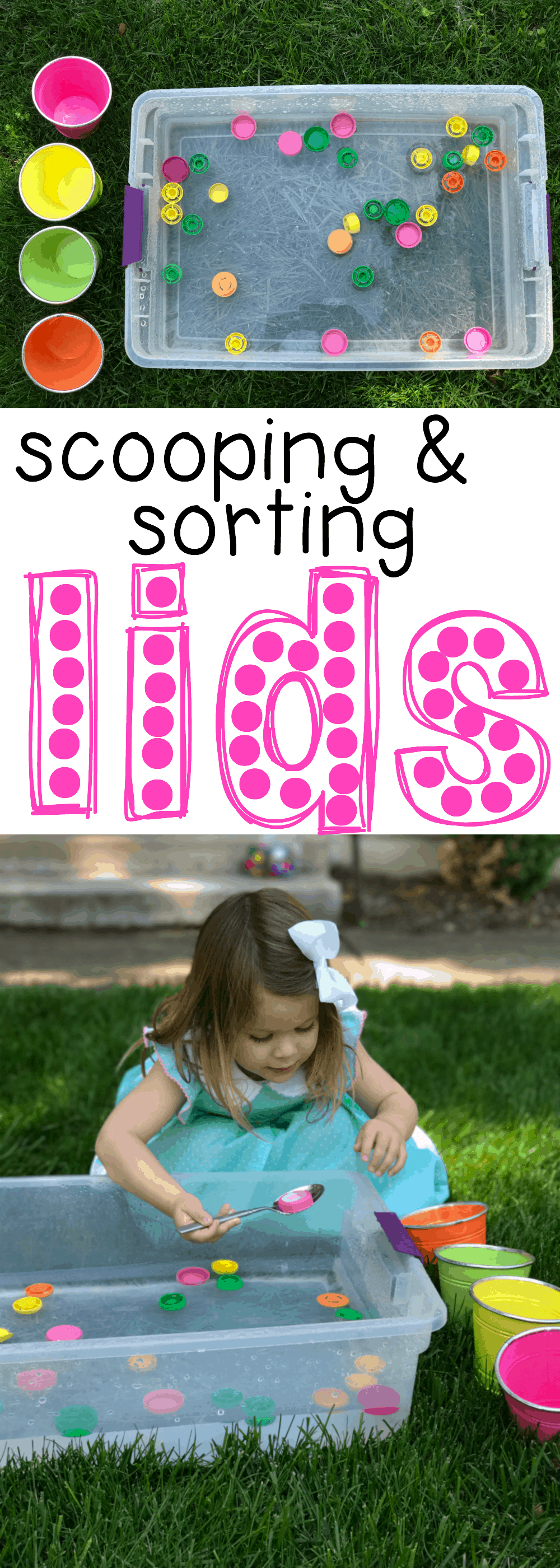 Scooping and Sorting Lids for Toddlers - I Can Teach My Child!