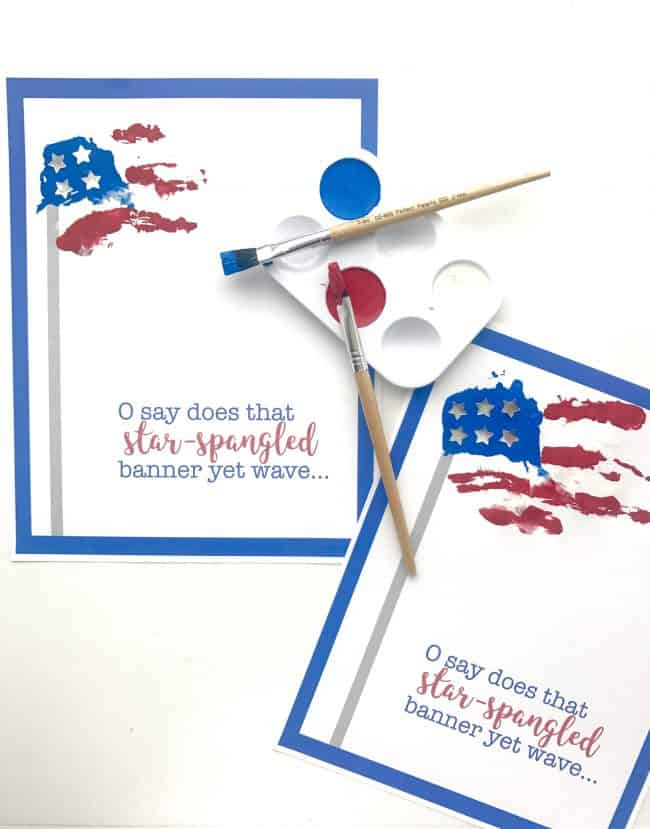 Star Spangled Banner Handprint Art with Printable