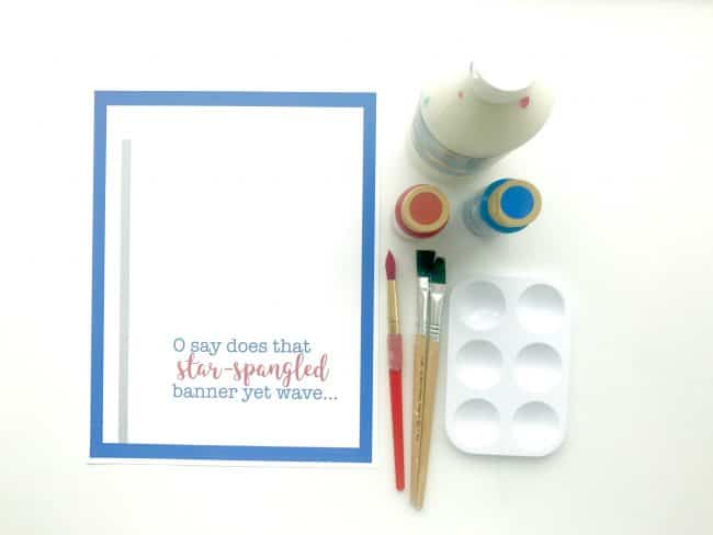Supplies for Star Spangled Banner Handprint Art