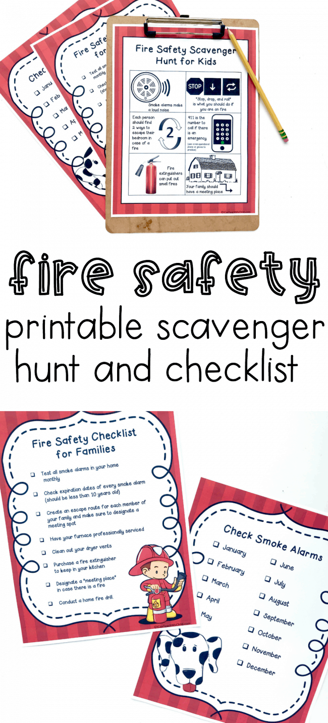 photo relating to Fire Safety Printable titled Hearth Stability Listing and Scavenger Hunt - I Can Coach My Kid!