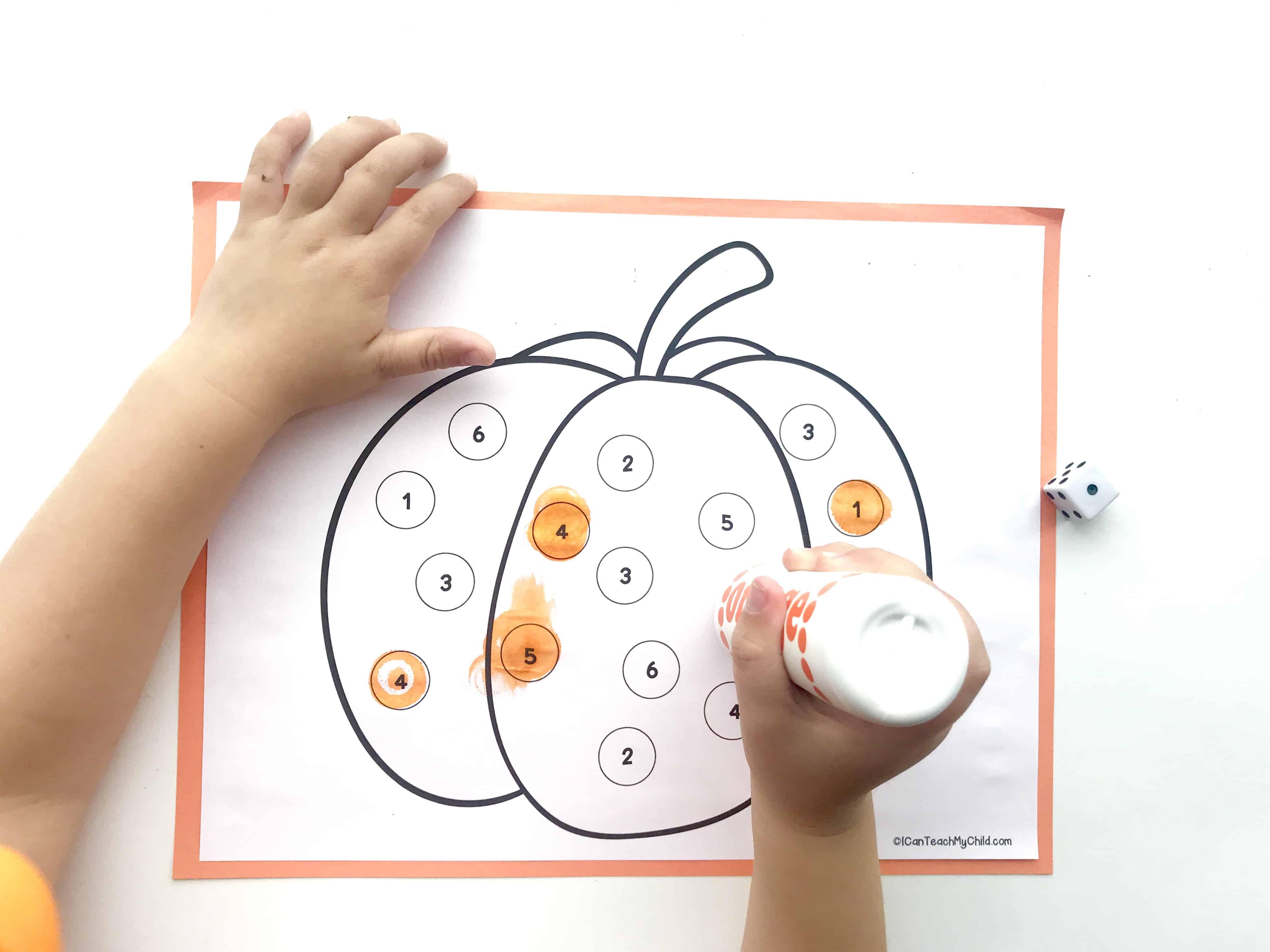 Roll And Mark Pumpkin Dot Art Activity I Can Teach My Child