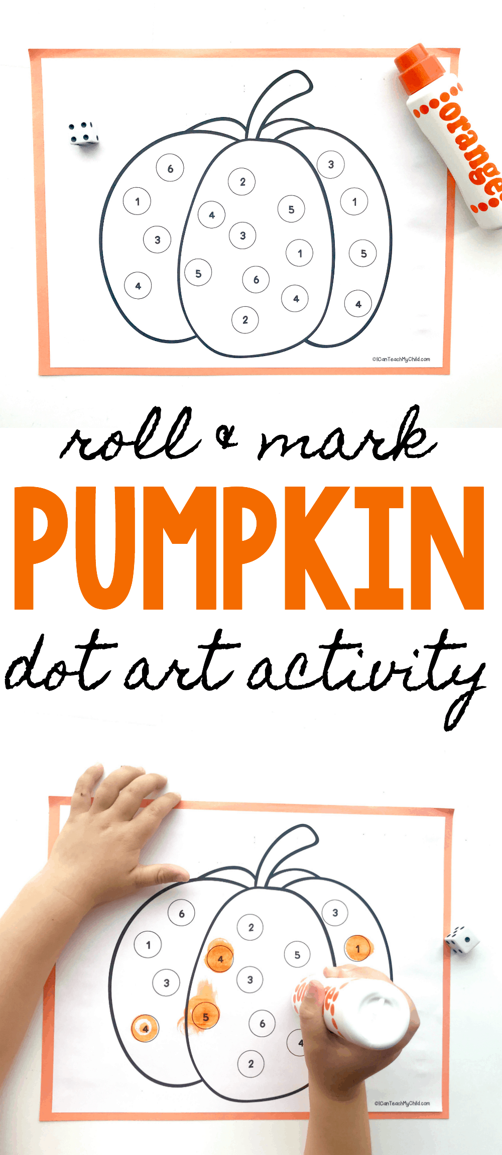 roll and mark pumpkin dot art activity i can teach my child