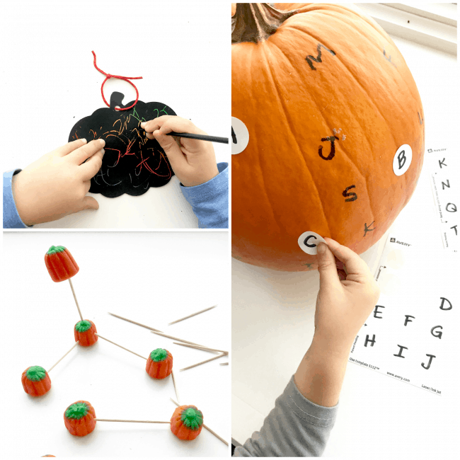 Scratch Art Pumpkin, Pumpkin Structures, Alphabet Pumpkin