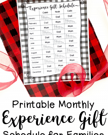 Printable Monthly Experience Gift Schedule for Families with 3 or 4 Children