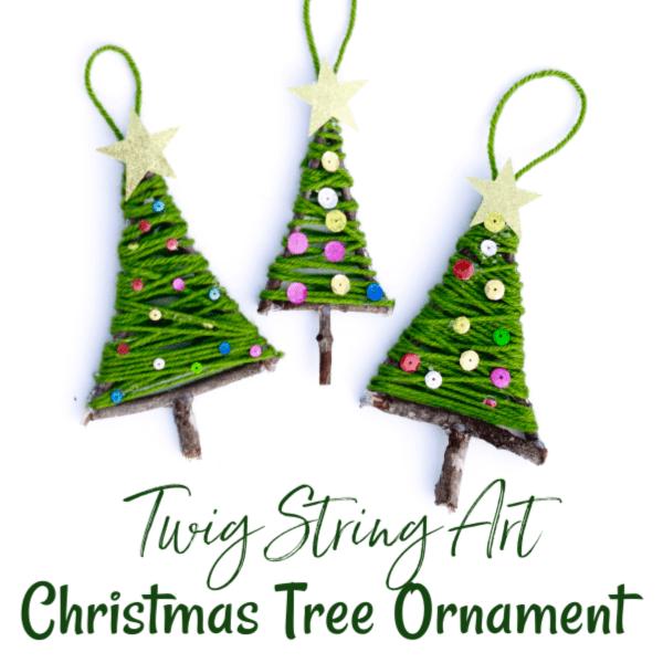 Twig String Art Christmas Tree Ornament