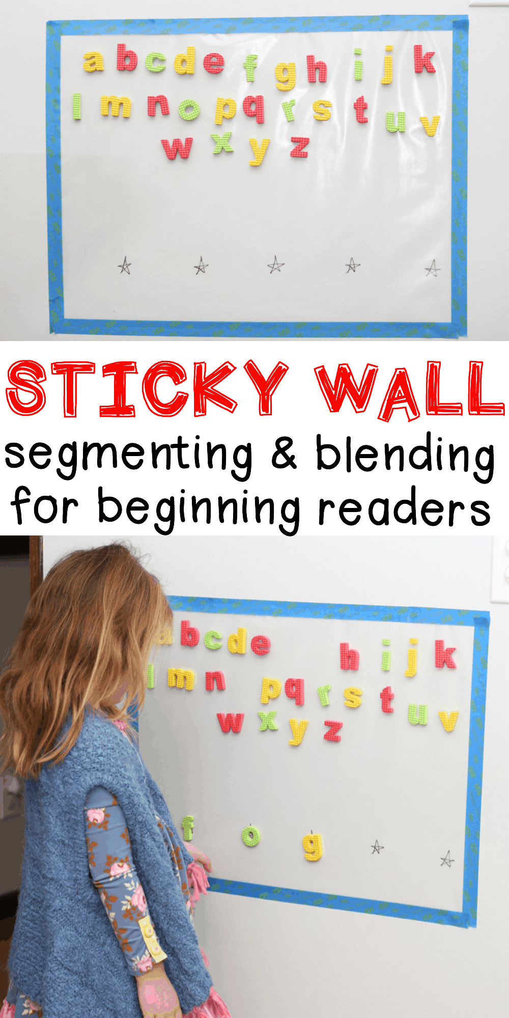sticky wall segmenting and blending activity for beginning