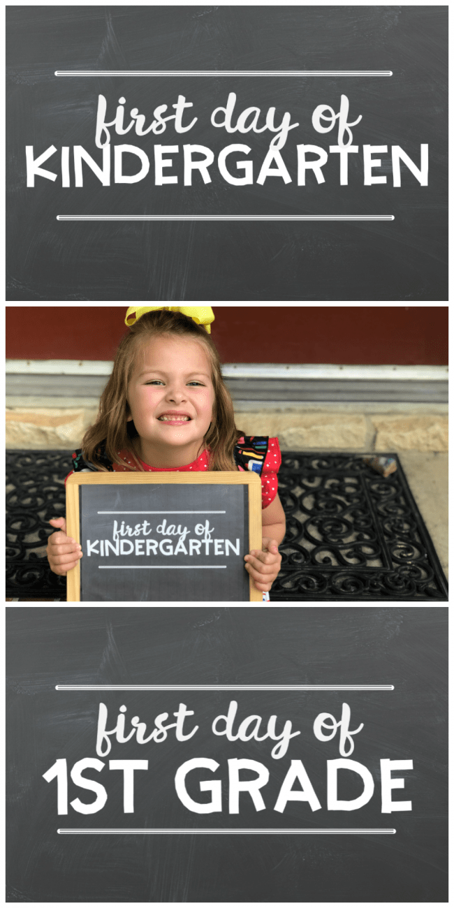 Chalkboard First Day of School signs