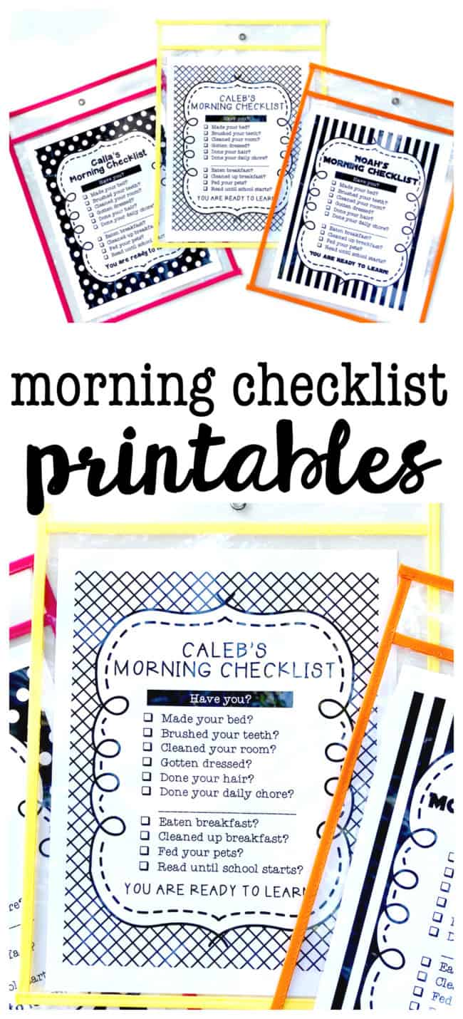 Morning Checklist Printables