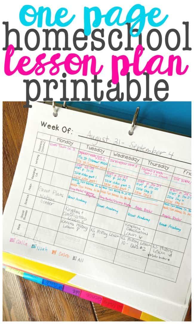 One Page Homeschool Lesson Plan Printable