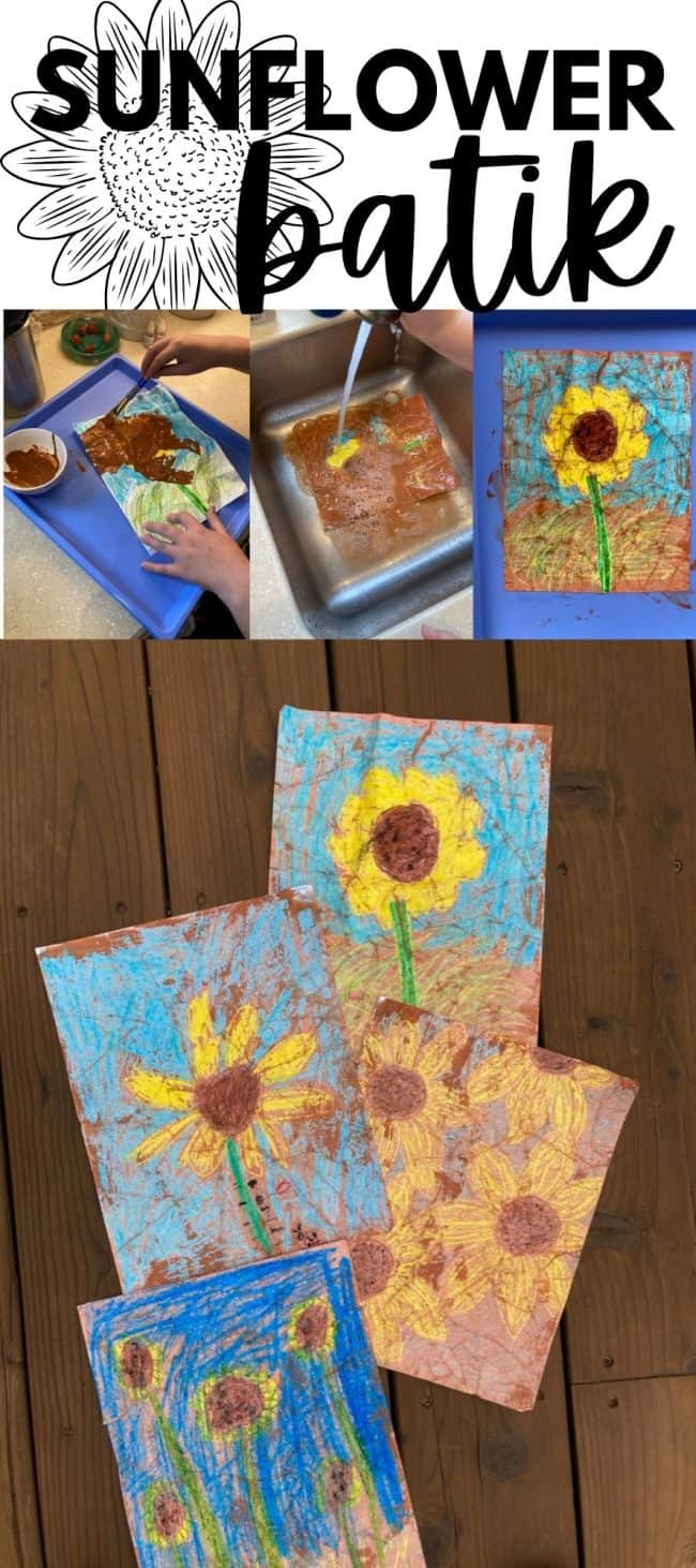 Sunflower Batik Art Project for Kids